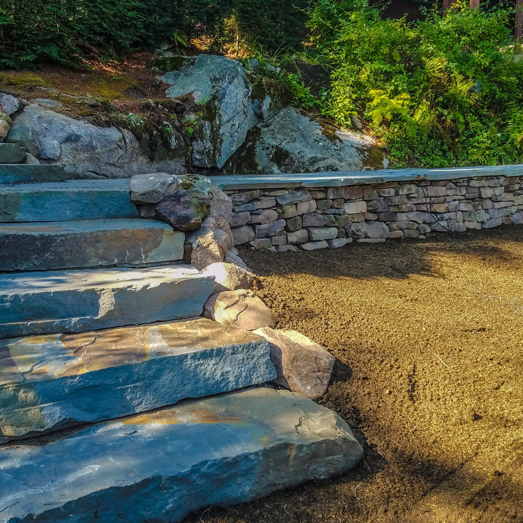 Our hardscaping contractor can put in granite or colonial steps